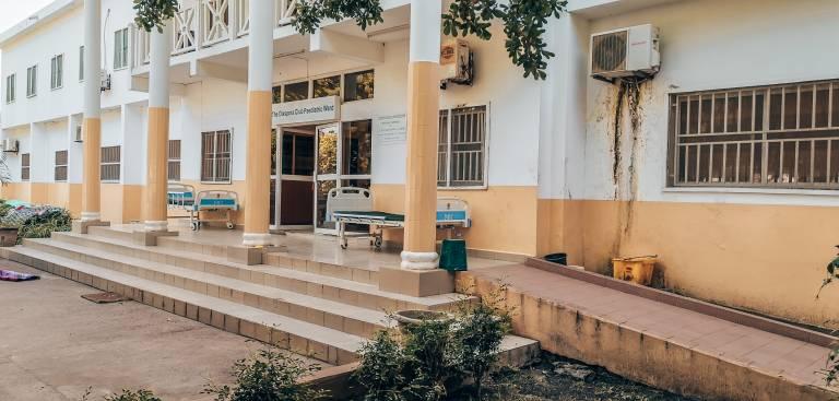 The main entrance of the Pediatric Hospital in Banjul.