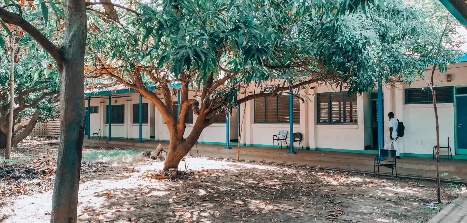 Overview of the inner courtyard of the Nursing College in Banjul.