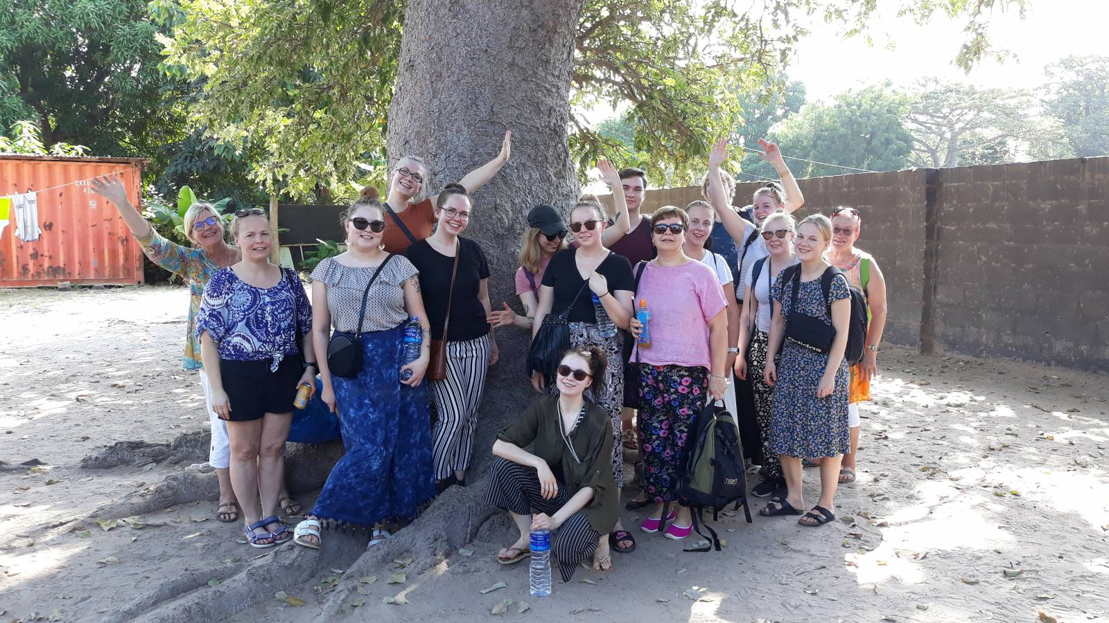 Finnish students started their student exchange in the garden of Brufut Nursery.