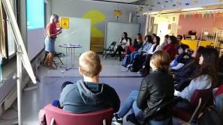 Sohvi Sirkesalo talks to students