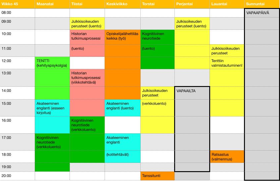 Jennin viikkokalenteri