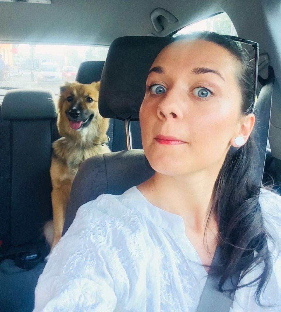 Luiza with her dog