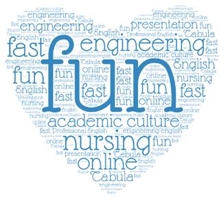 """Sydän, missä englanninkielisiä sanoja kuten """"fun"""", """"nursing"""", """"engineering"""" ja """"online"""""""