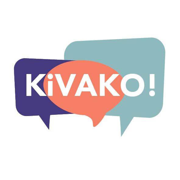 KiVAKOn logo, jossa kolme eriväristä puhekuplaa