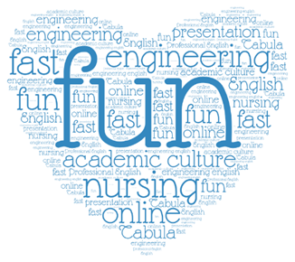 "A heart that includes words in English, such as ""fun"", ""nursing"" and ""engineering"""
