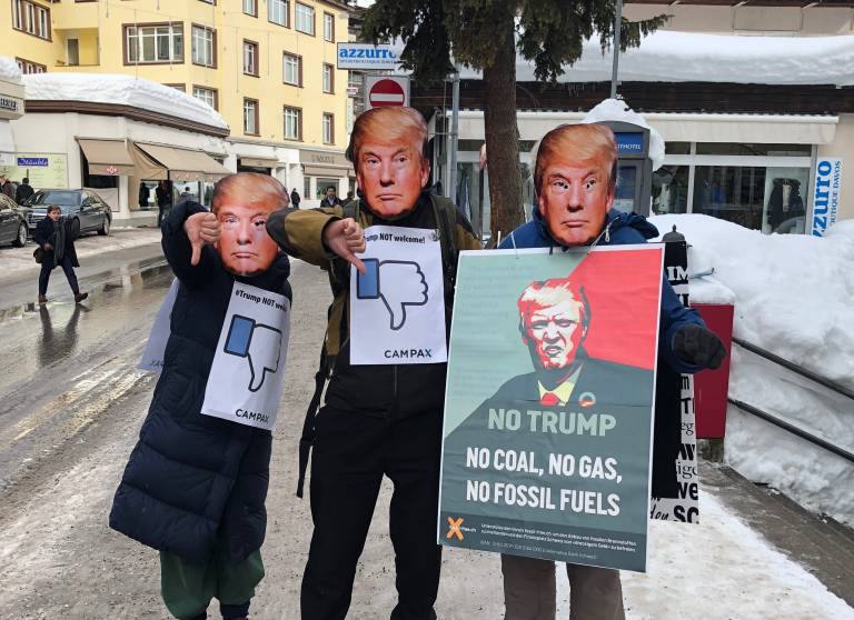 Activists protesting Donald Trump in Davos