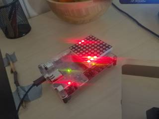A PYNQ-Z1 device running the example project.