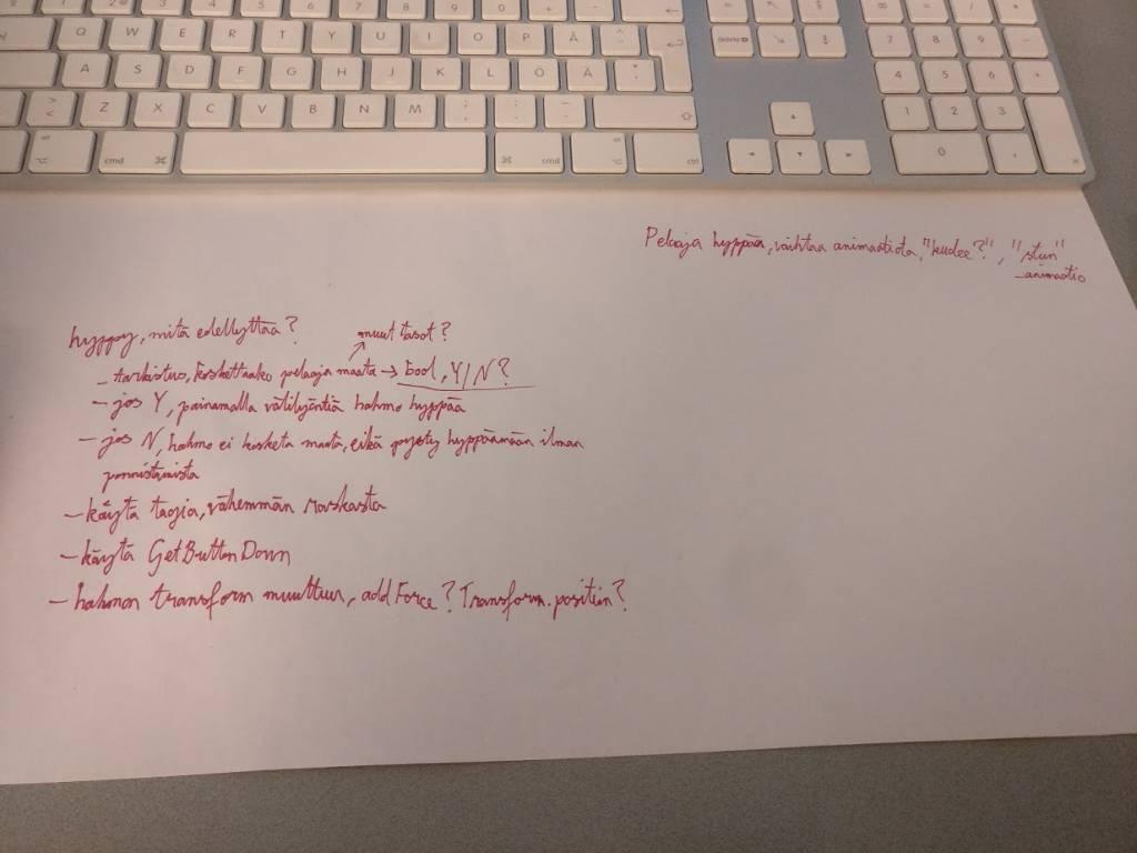 Muistiinpanoja paperilla.
