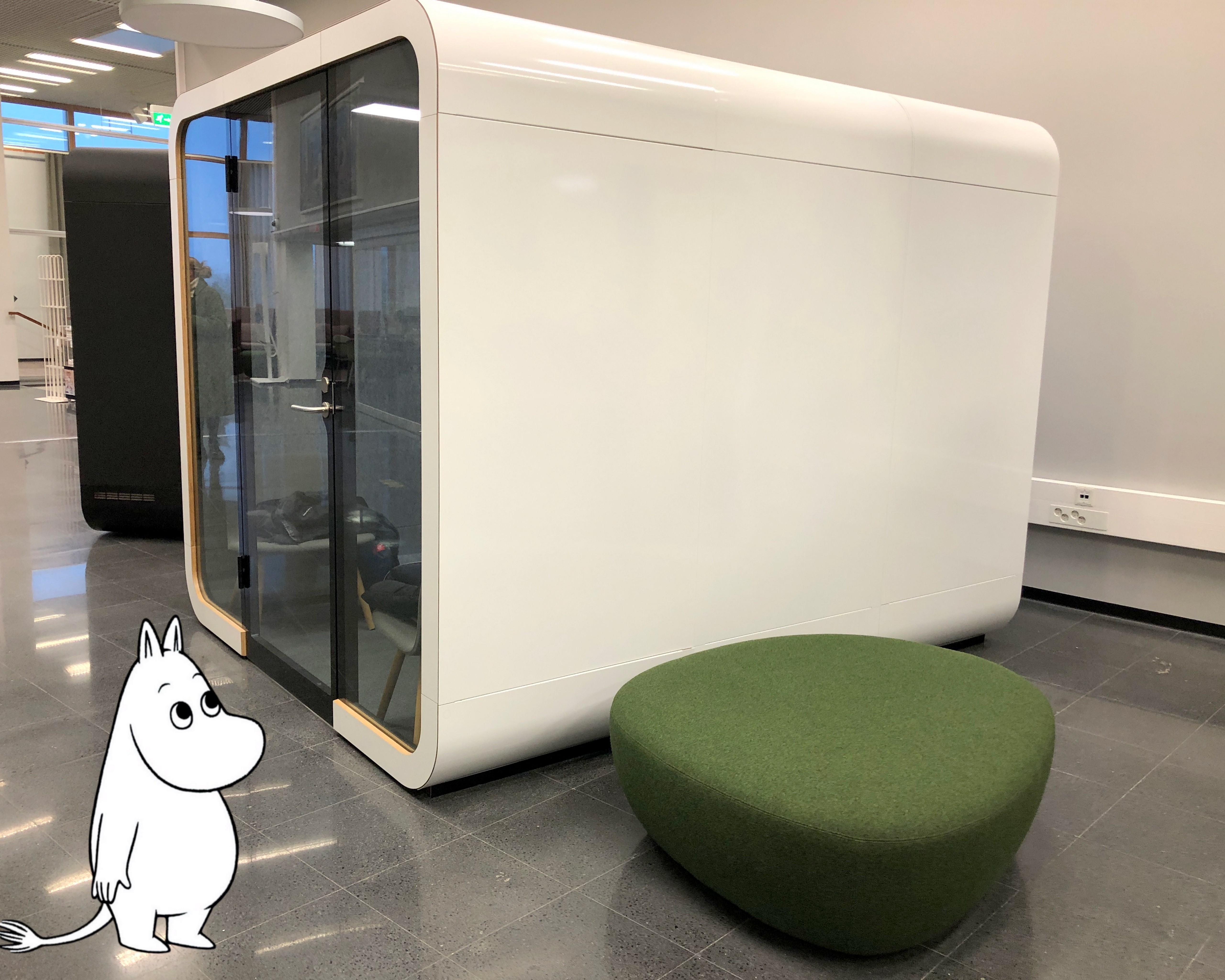 Moomintroll exploring the quiet working spaces on campus.