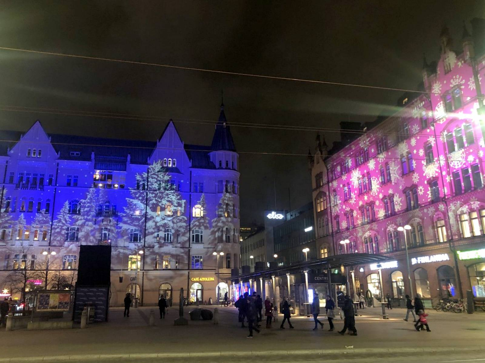 Buildings at Tampere Central square in Christmas lights.