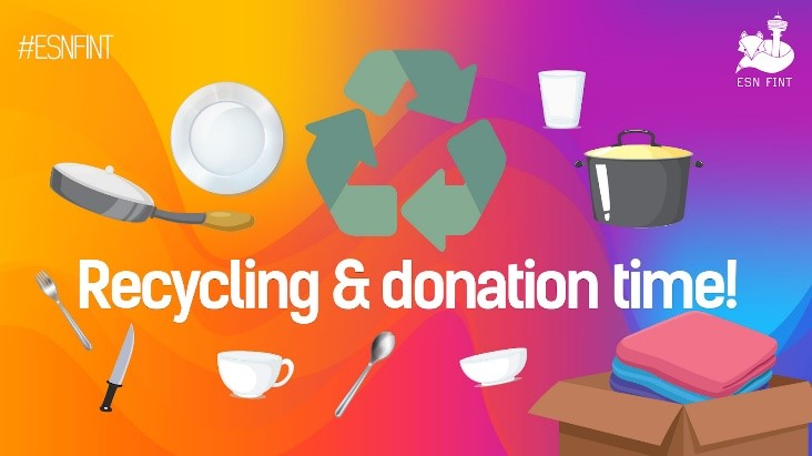 """ESN FINT's ad banner, """"Recycling & donation time!"""""""