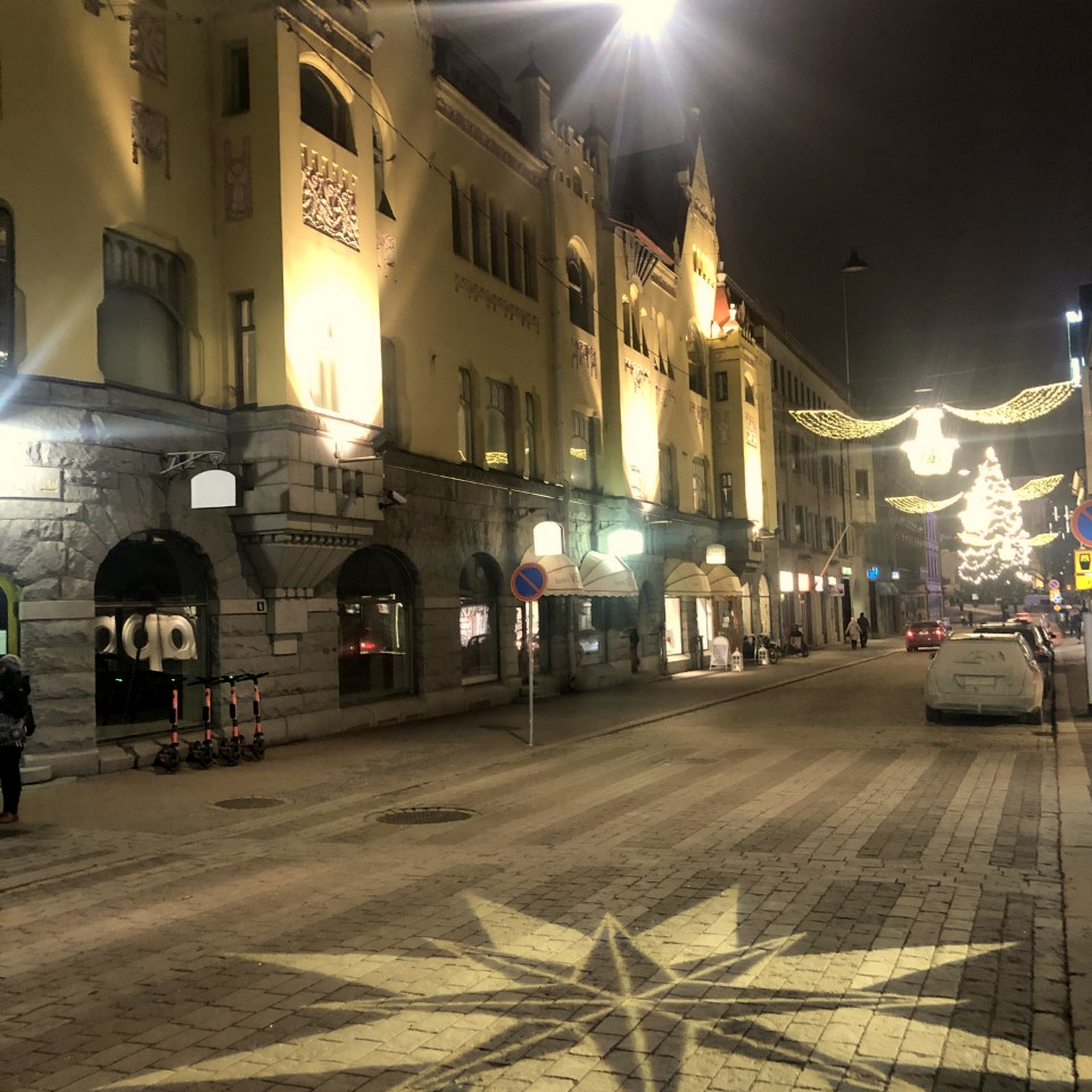 Christmas lights on the street.