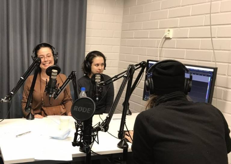 Student ambassadors in the podcast studio.