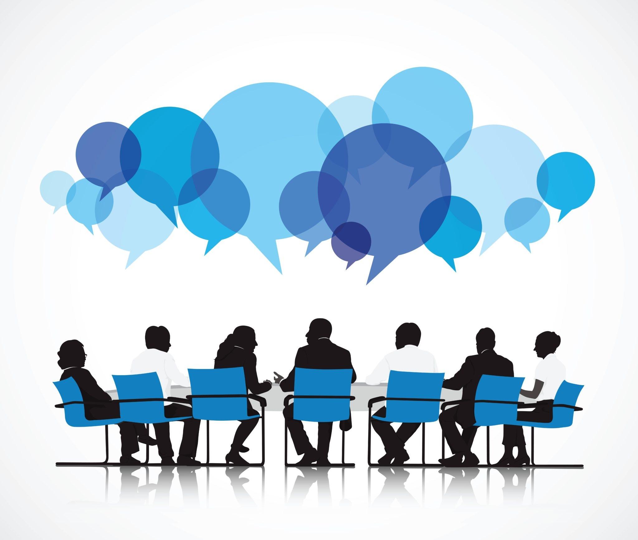 Grafiikkaa ihmisistä istumassa ja keskustelemassa pöydän ääressä.