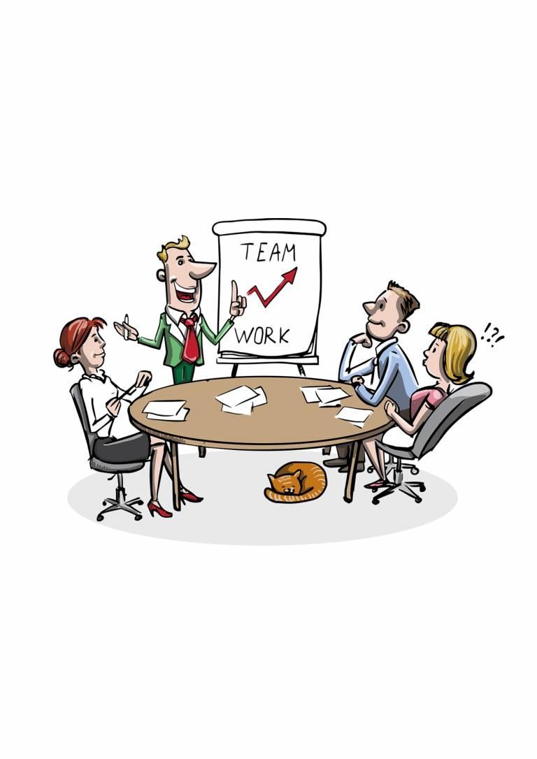 Piirroskuvassa työntekijöitä kokouksessa pöydän ja fläppitaulun ääressä.