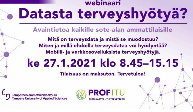 datasta terveyshyötyjä webinaarin mainos