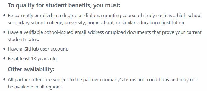 GitHub Student Developer -etupaketin ehdot