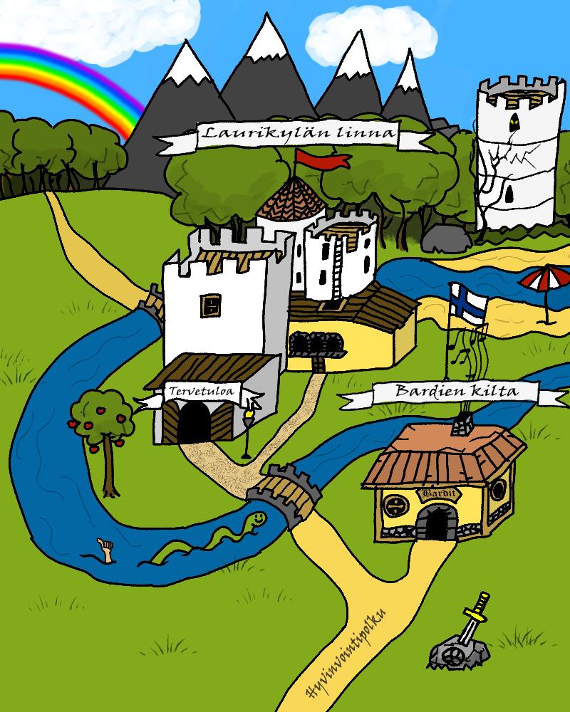 Piirroskuva pelistä, jossa linnamaisema.