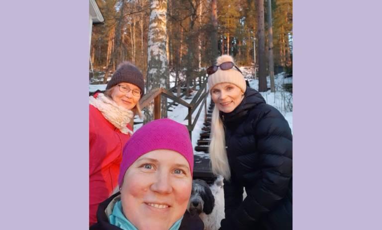 Kuvassa Päivi Puutio, Ella Kallio ja Tarja Heinonen