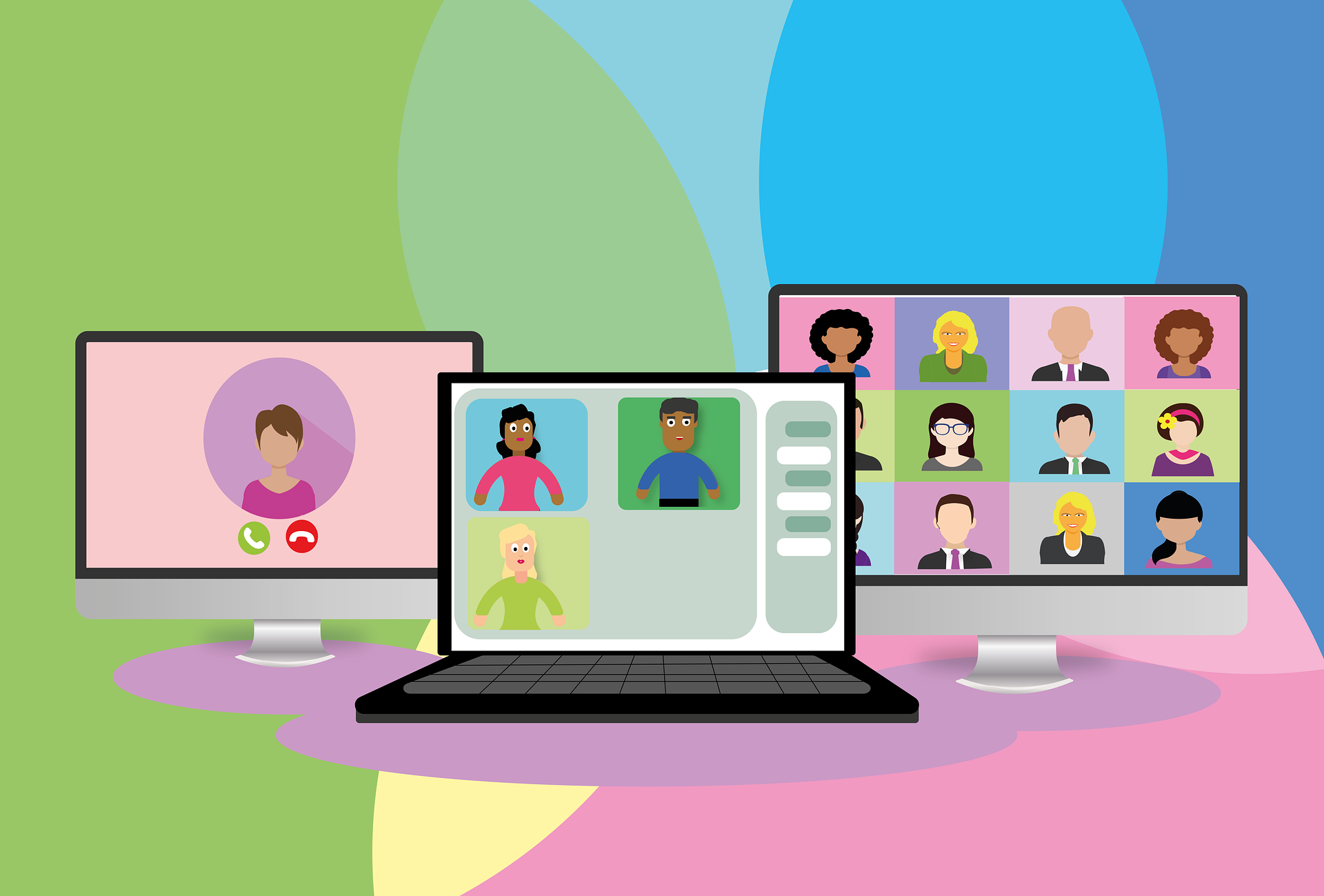 Graphics about people on Zoom meetings.