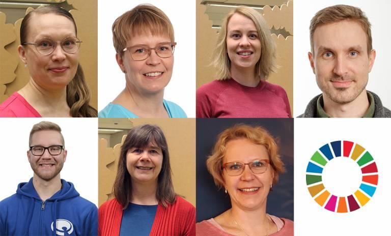 Kuvassa: Ylärivi, vasemmalta Eija Syrjämäki, Saana Raatikainen, Maria Maljanen ja Sampo Saari. Alarivi, vasemmalta Joonas Soukkio, Eveliina Asikainen ja Eeva-Liisa Viskari.
