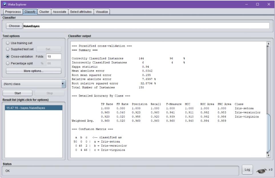 Weka Explorer –dialogin Classify-välilehti onnistuneen NaiveBayes-ajon jälkeen. Classifier output –raportti on nyt skrollattuna aivan raportin alareunaan, missä näkyvissä validoinnin tunnuslukuja, esim. luokittelutarkkuus ja sekaannusmatriisi. Koska raportti sisältää taulukkomuotoista dataa jota ei ole saavutettavasti kuvailtu, voi raportin tulosten lukeminen olla varsin hankalaa esim. ruudunlukijan avulla.