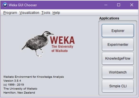 """Wekan käynnistymisen yhteydessä avautuva dialogi """"Weka GUI Chooser"""". Dialogi sisältää Wekan logon ja versionumeron (ym.) ohella eri sovelluksia käynnistävät nappulat Explorer, Experiments, KnowledgeFlow, Workbench ja """"Simple CLI""""."""