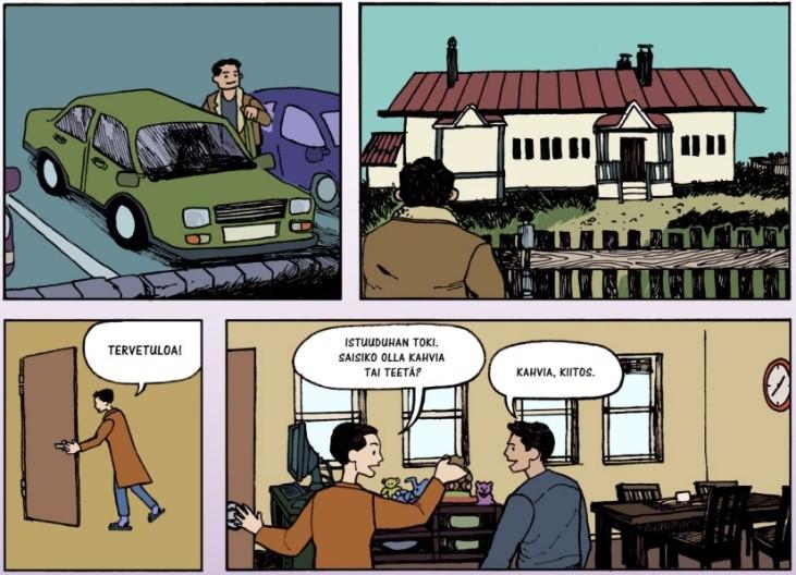 Katkelma Sanasta kuvaksi -hankkeessa Ensi- ja turvakotien liitolle tehdystä sarjakuvadokumentista, kuvittaja Jan Pitkäsalo.