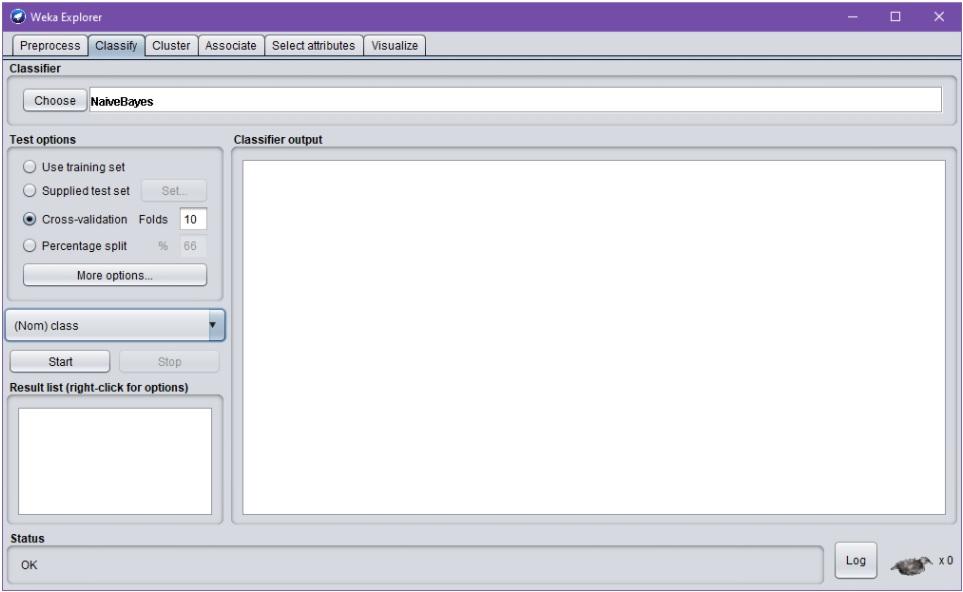 """Weka Explorer –dialogin Classify-välilehti, jossa ladattuna iiris-aineisto. Välilehti tarjoaa mahdollisuuden koneoppimisen algoritmin valintaa (Classifier > Choose); nyt valittuna NaiveBayes-algoritmi. Dialogi sisältää myös ryhmät """"Test options"""", """"Classifier output"""" sekä """"Result list"""". Ryhmän """"Test options"""" puitteissa on nyt valitty """"Cross-validation [with] Folds: 10"""" ja luokitteleva attribuutti """"(Nom) class"""". Opetus- ja validointiajon käynnistys onnistuu Start-nappulalla."""