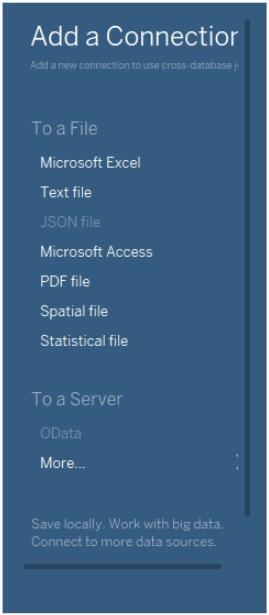 """Tableau-ohjelman Add a Connection-dialogi, jossa valittavana erit. csv-datalle sopiva vaihtoehto """"To a File > Text file"""". Muita vaihtoehtoja ei tässä käytetä, kuten esim. """"Add a Connection To a File > Microsoft Excel"""" tai """"To a Server > OData""""."""