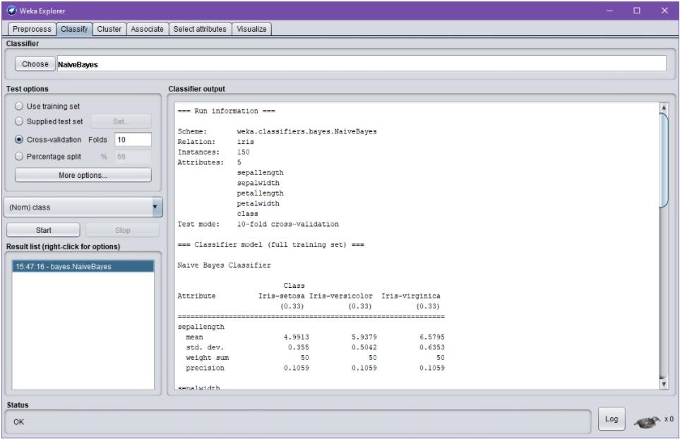 """Weka Explorer –dialogin Classify-välilehti onnistuneen NaiveBayes-ajon jälkeen. Ajon tuloksena Classifier output-osioon on ilmestynyt tekstimuotoinen raportti ilman. Raporttiin viitataan käyttöliittymäosioon """"Result list"""" ilmestyneellä linkillä. Englanninkielinen raportti on tarkoitettu käyttäjän luettavaksi ja kertoo mm. käytetyn algoritmin tarkan nimen, kuvailee lyhyesti aineiston ja validointimenetelmän sekä sisältää tunnuslukuja validoinnin tuloksista."""
