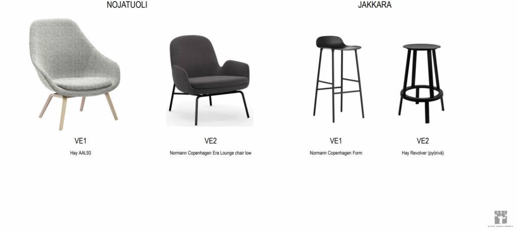 Kuva, jossa neljä tuolia: kaksi nojatuolia ja kaksi jakkaraa