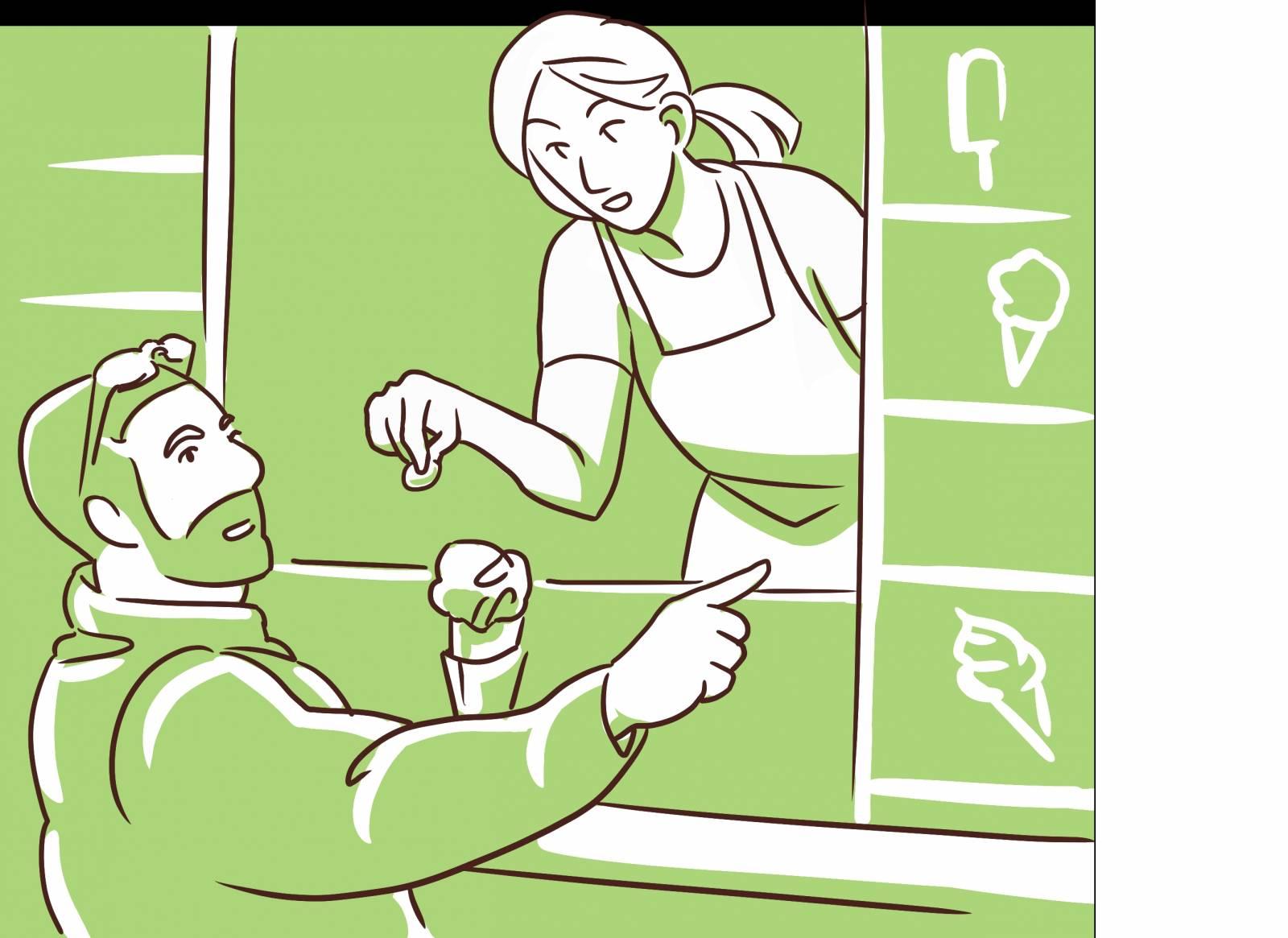 Sarjakuvataitelija Eeva Säilän artikkelikokoelmaan piirtämä kuva arjen vuorovaikutustilanteesta