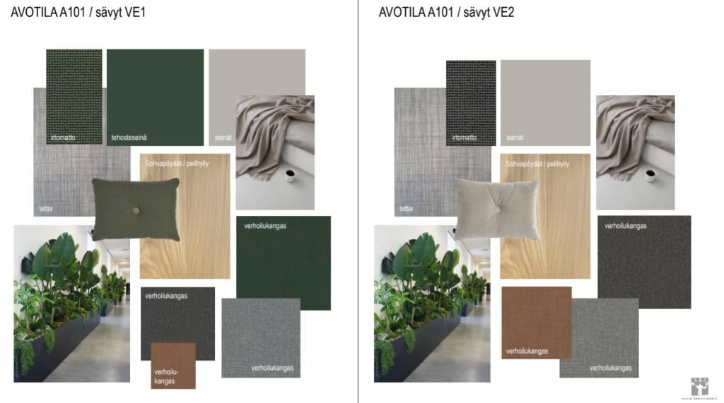 Kuva, jossa kaksi värisävyvaihteohtoa: toisessa harmaa-vihreä, toisessa harmaa