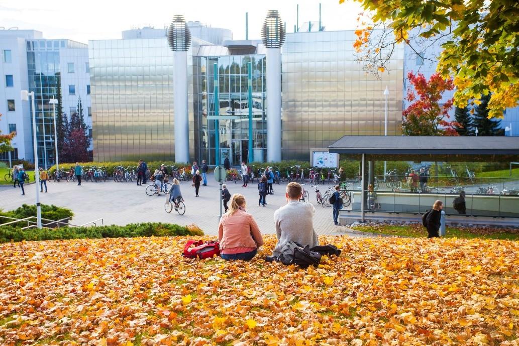 Kaksi opiskelijaa istuu kampuksen nurmikolla pudonneiden lehtien päällä.