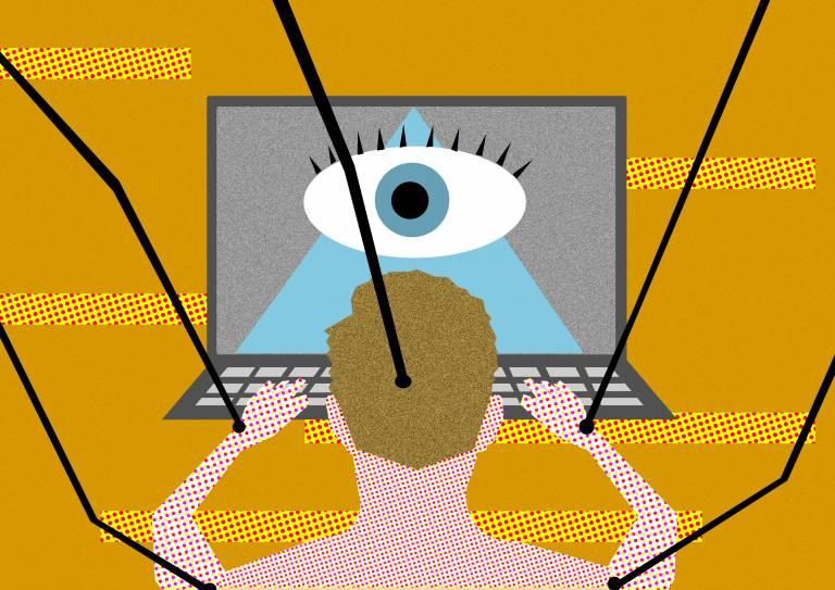 Piirroskuva, jossa henkilö on tietokoneen ruudun äärellä. Ruudulla näkyy yksi iso silmä.