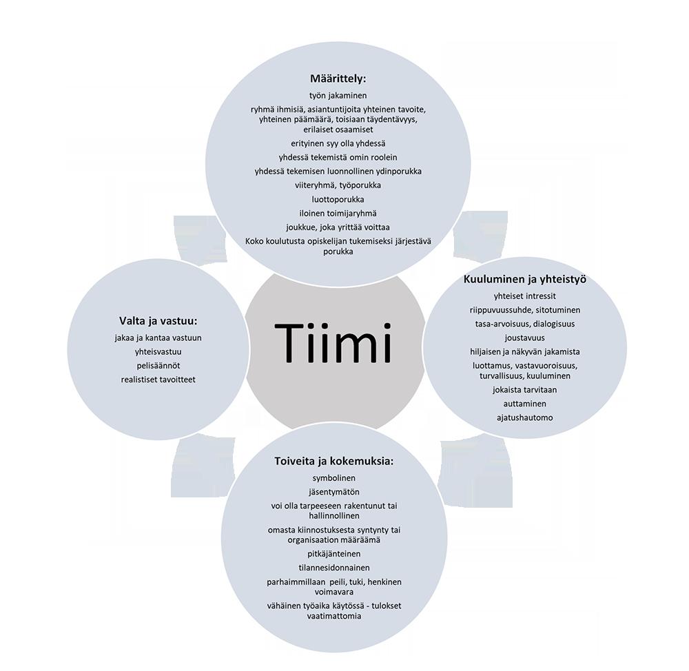 Kaavio tiimeistä. Määrittely, kuuluminen ja yhteistyö, toiveita ja kokemuksia, valta ja vastuu.